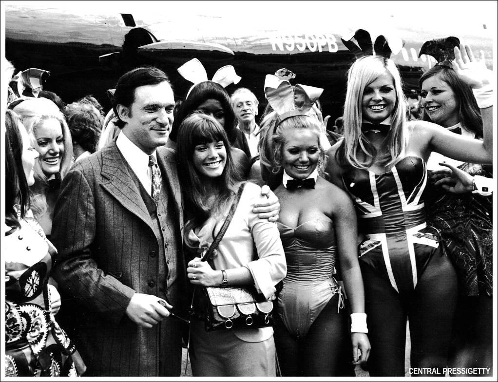 Greeting Hugh Hefner in London 1970